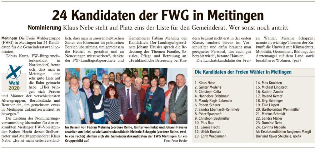 Nominierung FWG Meitingen